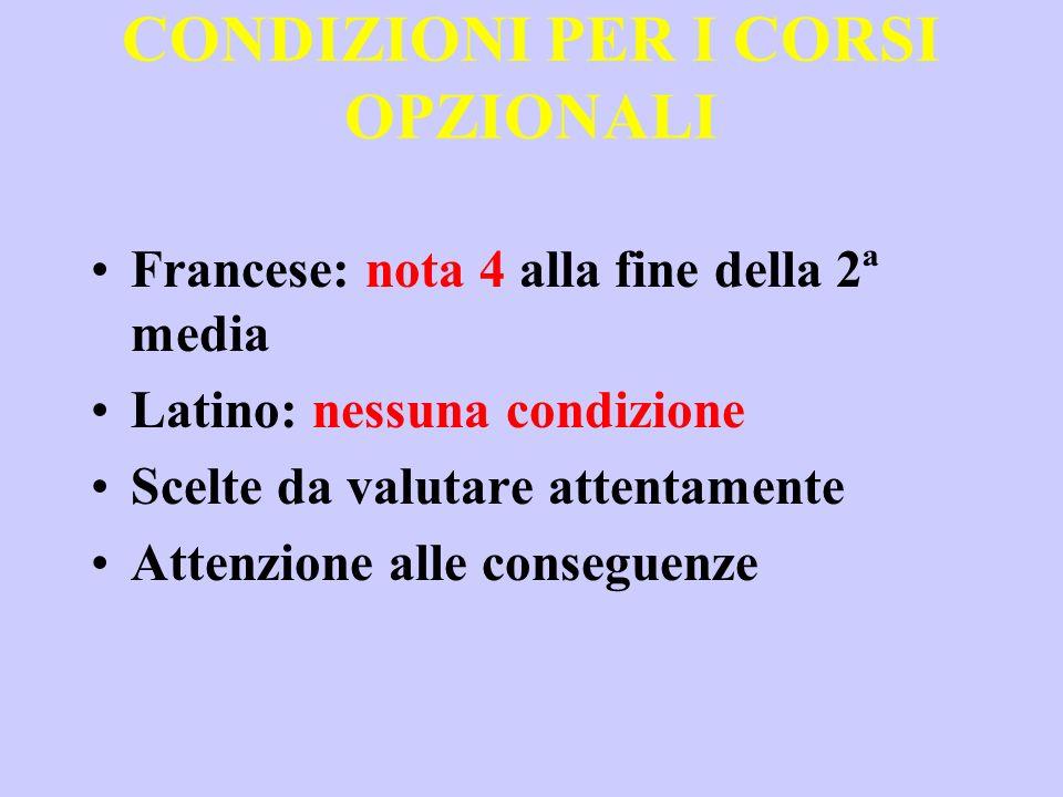 CONDIZIONI PER I CORSI OPZIONALI Francese: nota 4 alla fine della 2ª media Latino: nessuna condizione Scelte da valutare attentamente Attenzione alle