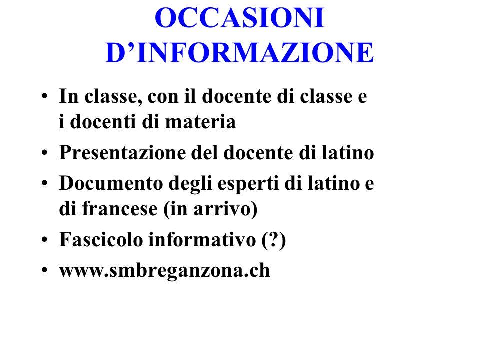 OCCASIONI DINFORMAZIONE In classe, con il docente di classe e i docenti di materia Presentazione del docente di latino Documento degli esperti di lati