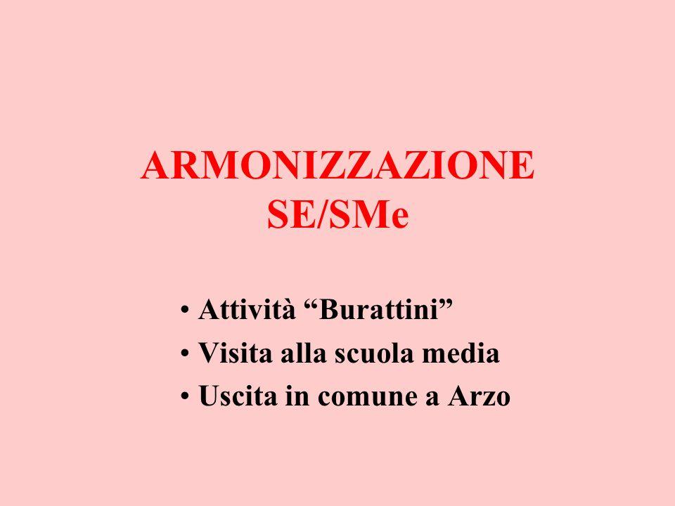 ARMONIZZAZIONE SE/SMe Attività Burattini Visita alla scuola media Uscita in comune a Arzo