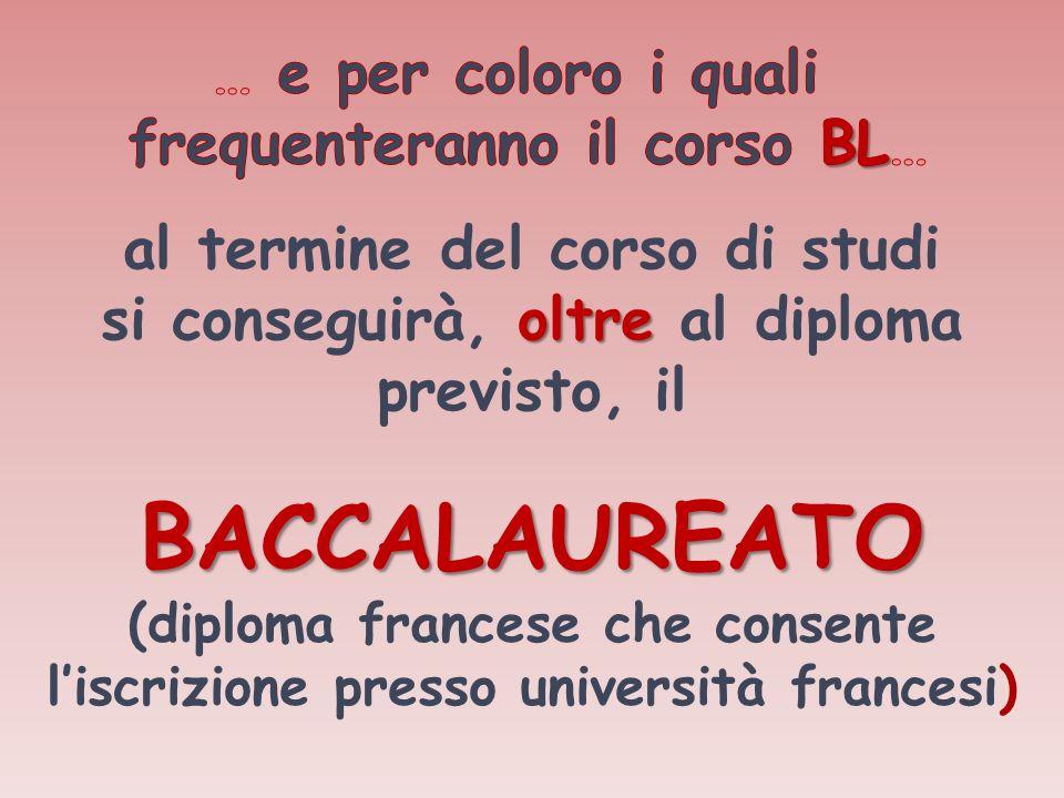 al termine del corso di studi si conseguirà, oltre oltre al diploma previsto, il BACCALAUREATO (diploma francese che consente liscrizione presso unive