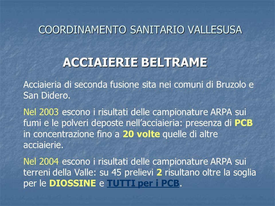 COORDINAMENTO SANITARIO VALLESUSA ACCIAIERIE BELTRAME Acciaieria di seconda fusione sita nei comuni di Bruzolo e San Didero.