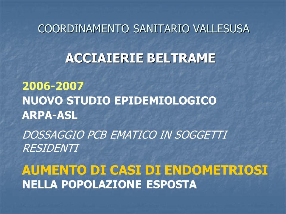 COORDINAMENTO SANITARIO VALLESUSA ACCIAIERIE BELTRAME 2006-2007 NUOVO STUDIO EPIDEMIOLOGICO ARPA-ASL DOSSAGGIO PCB EMATICO IN SOGGETTI RESIDENTI AUMENTO DI CASI DI ENDOMETRIOSI NELLA POPOLAZIONE ESPOSTA