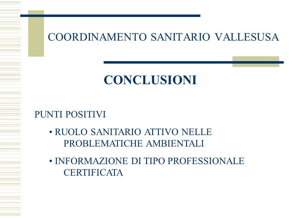 COORDINAMENTO SANITARIO VALLESUSA CONCLUSIONI PUNTI POSITIVI RUOLO SANITARIO ATTIVO NELLE PROBLEMATICHE AMBIENTALI INFORMAZIONE DI TIPO PROFESSIONALE CERTIFICATA