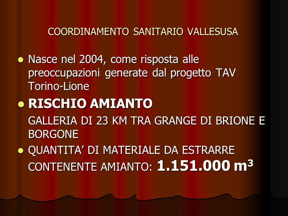 COORDINAMENTO SANITARIO VALLESUSA Nasce nel 2004, come risposta alle preoccupazioni generate dal progetto TAV Torino-Lione Nasce nel 2004, come risposta alle preoccupazioni generate dal progetto TAV Torino-Lione RISCHIO AMIANTO RISCHIO AMIANTO GALLERIA DI 23 KM TRA GRANGE DI BRIONE E BORGONE QUANTITA DI MATERIALE DA ESTRARRE CONTENENTE AMIANTO: 1.151.000 m 3 QUANTITA DI MATERIALE DA ESTRARRE CONTENENTE AMIANTO: 1.151.000 m 3