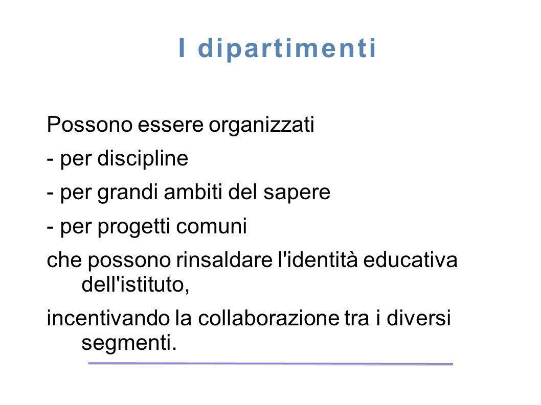 I dipartimenti Possono essere organizzati - per discipline - per grandi ambiti del sapere - per progetti comuni che possono rinsaldare l'identità educ