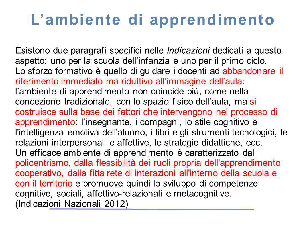 Lambiente di apprendimento Esistono due paragrafi specifici nelle Indicazioni dedicati a questo aspetto: uno per la scuola dellinfanzia e uno per il p