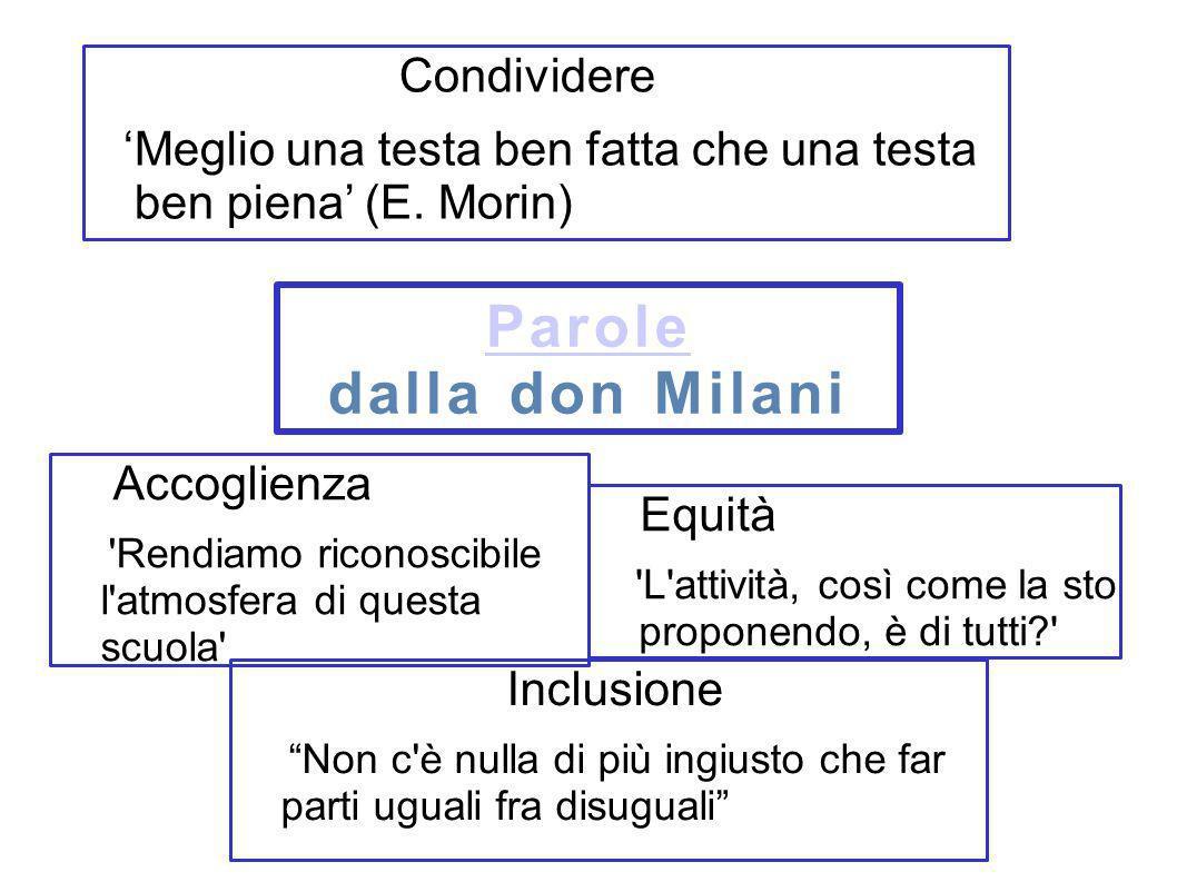 Parole dalla don Milani Condividere Meglio una testa ben fatta che una testa ben piena (E. Morin) Inclusione Non c'è nulla di più ingiusto che far par