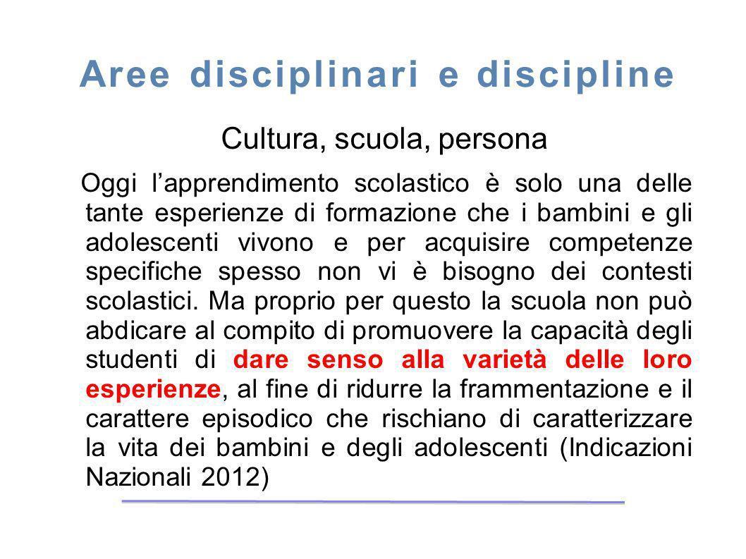 Aree disciplinari e discipline Cultura, scuola, persona Oggi lapprendimento scolastico è solo una delle tante esperienze di formazione che i bambini e