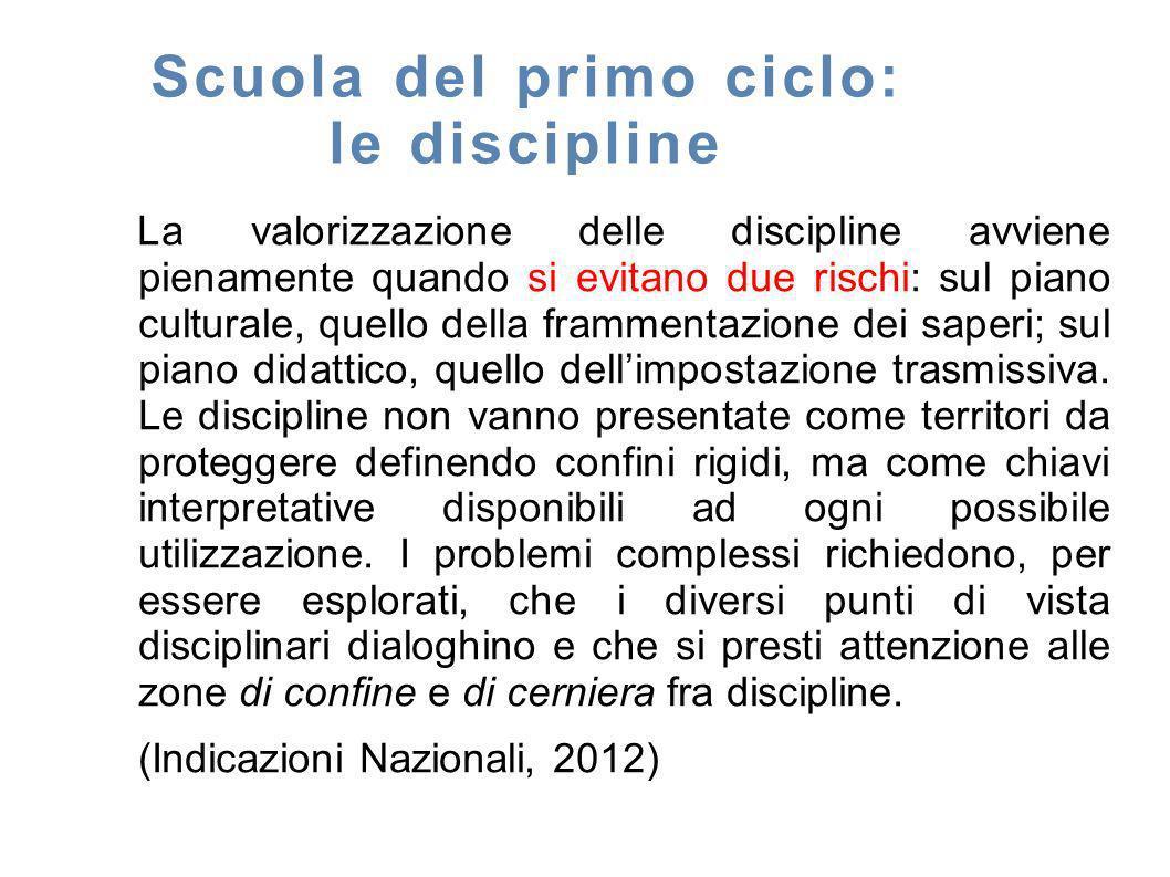 Scuola del primo ciclo: le discipline La valorizzazione delle discipline avviene pienamente quando si evitano due rischi: sul piano culturale, quello