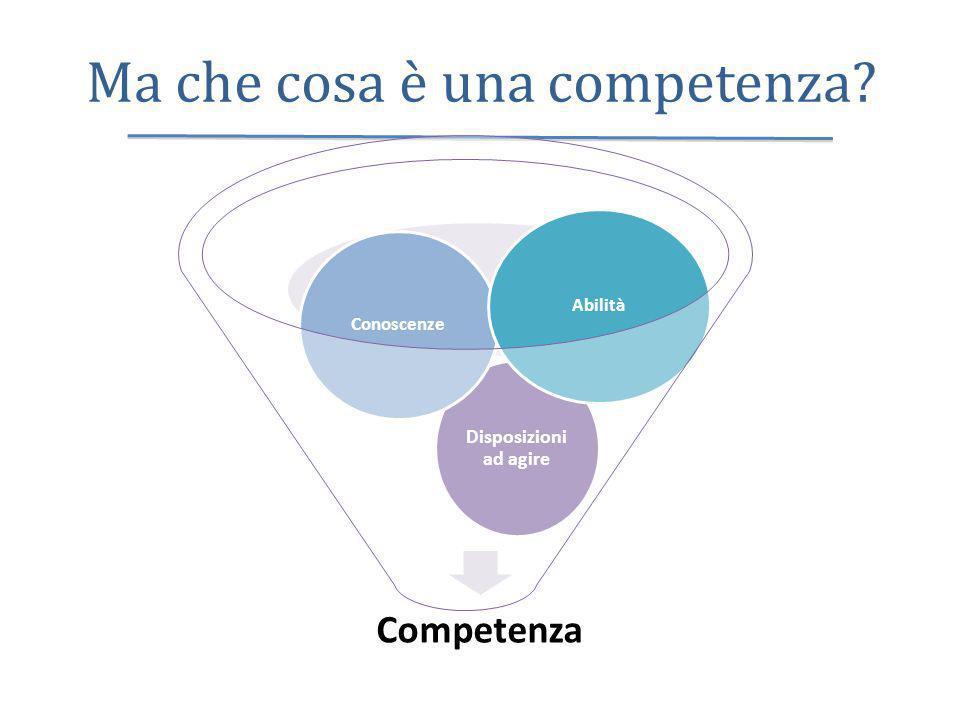 Ma che cosa è una competenza? Competenza Disposizioni ad agire Conoscenze Abilità