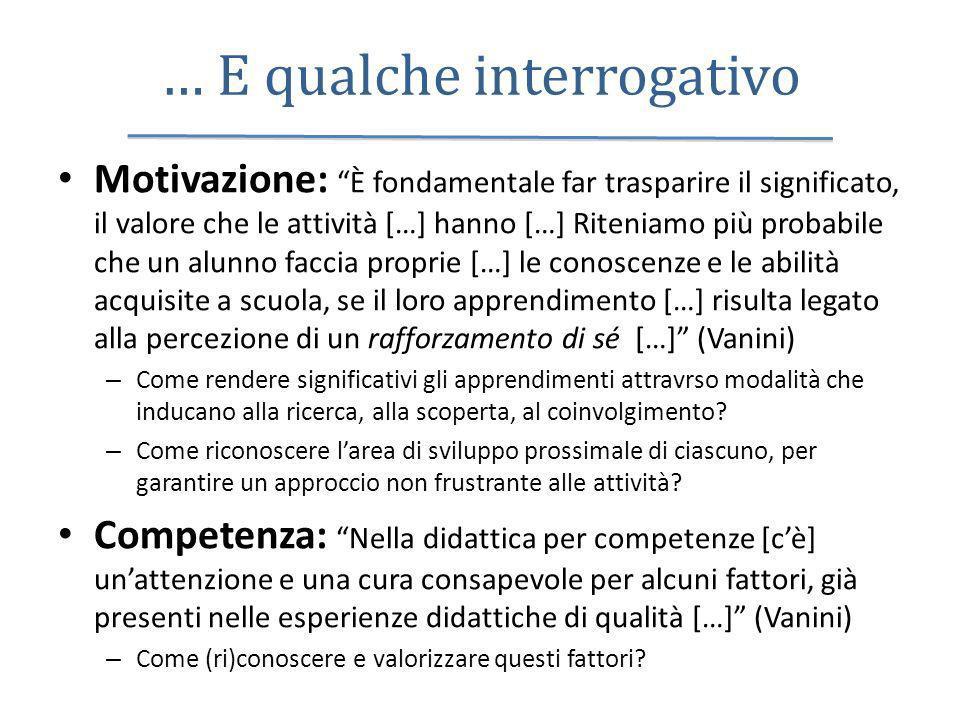 … E qualche interrogativo Motivazione: È fondamentale far trasparire il significato, il valore che le attività […] hanno […] Riteniamo più probabile c