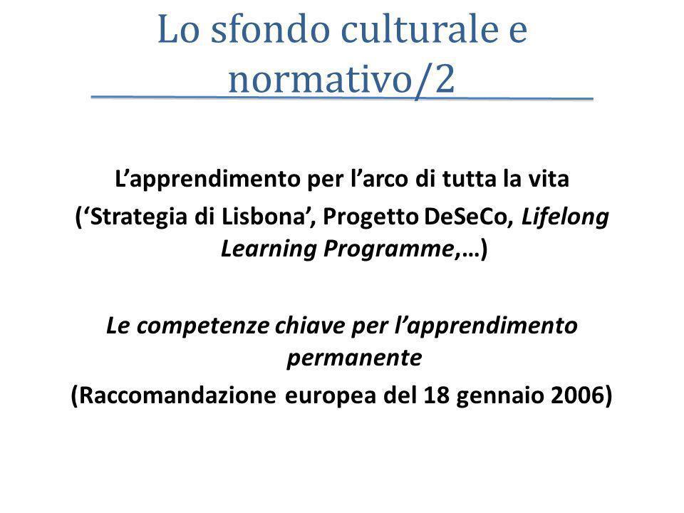 Lo sfondo culturale e normativo/2 Lapprendimento per larco di tutta la vita (Strategia di Lisbona, Progetto DeSeCo, Lifelong Learning Programme,…) Le competenze chiave per lapprendimento permanente (Raccomandazione europea del 18 gennaio 2006)