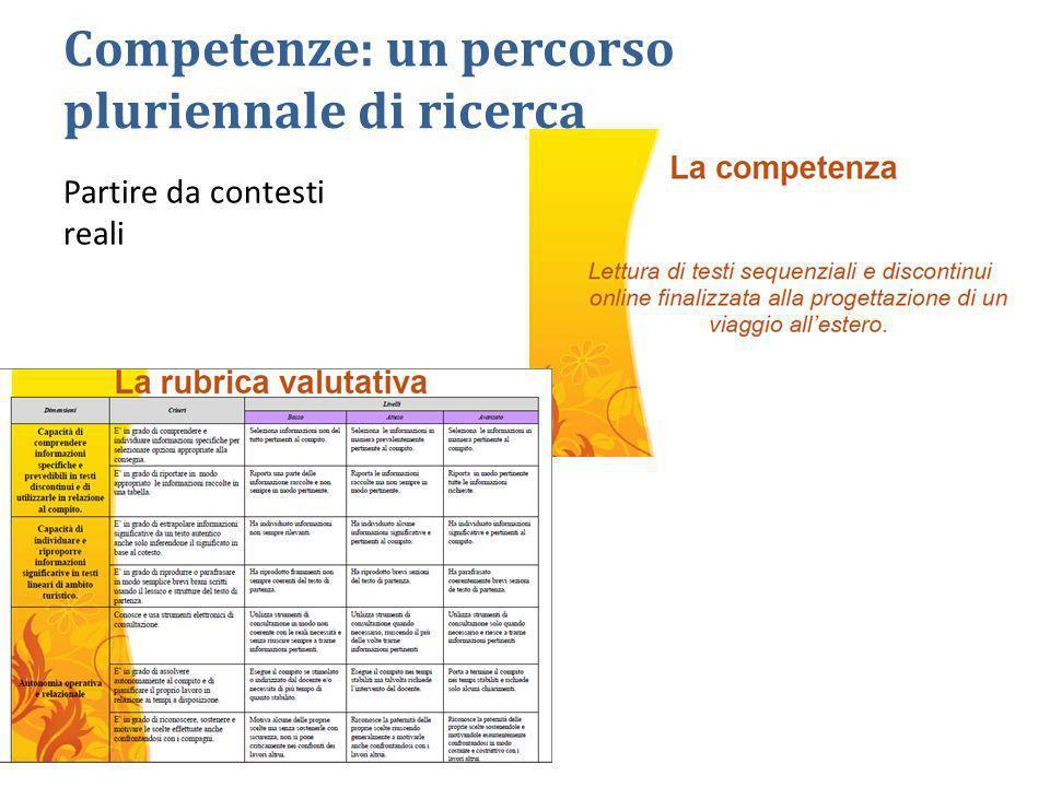 Competenze: un percorso pluriennale di ricerca Partire da contesti reali