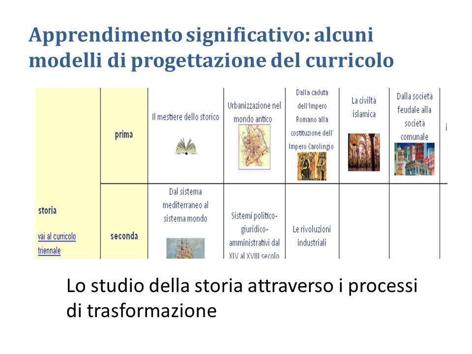 Apprendimento significativo: alcuni modelli di progettazione del curricolo Lo studio della storia attraverso i processi di trasformazione