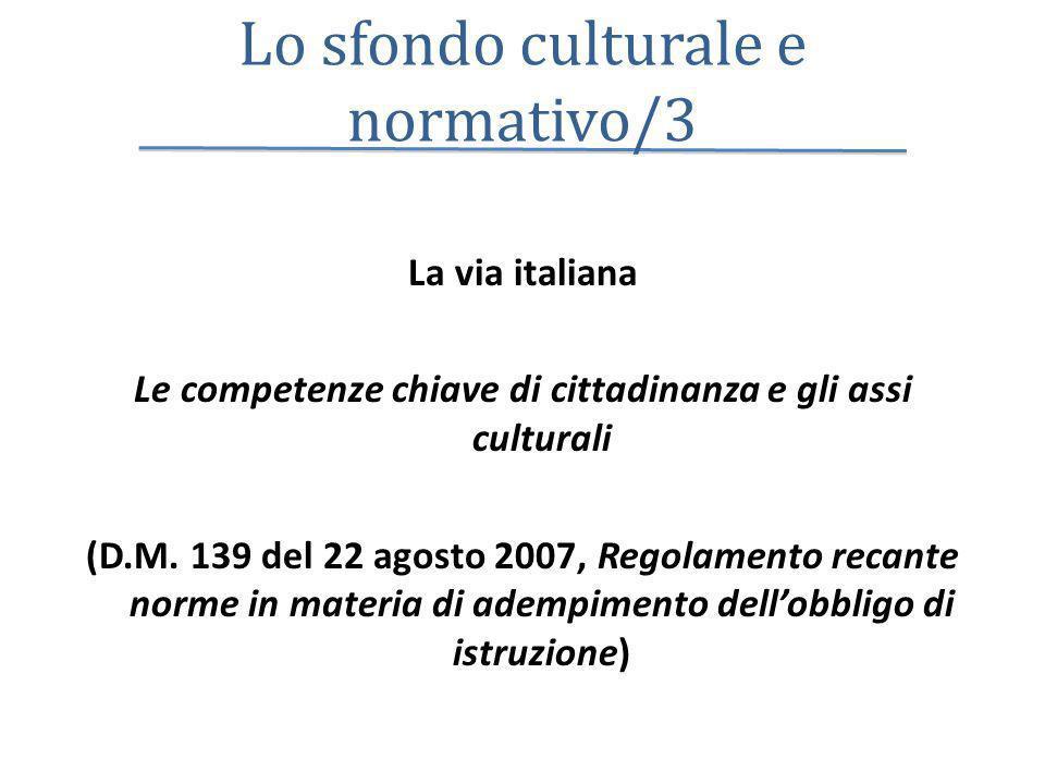 Lo sfondo culturale e normativo/3 La via italiana Le competenze chiave di cittadinanza e gli assi culturali (D.M. 139 del 22 agosto 2007, Regolamento