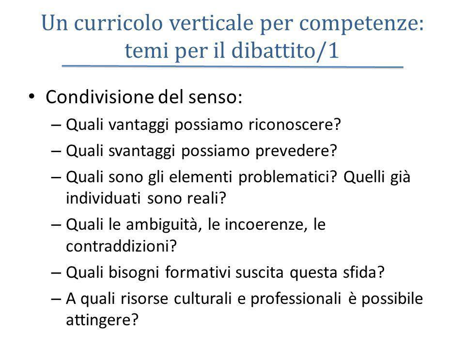 Un curricolo verticale per competenze: temi per il dibattito/1 Condivisione del senso: – Quali vantaggi possiamo riconoscere? – Quali svantaggi possia