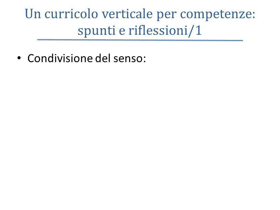 Un curricolo verticale per competenze: spunti e riflessioni/1 Condivisione del senso:
