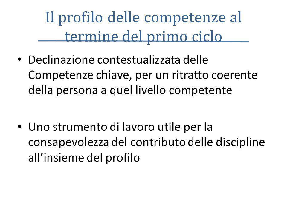 Il profilo delle competenze al termine del primo ciclo Declinazione contestualizzata delle Competenze chiave, per un ritratto coerente della persona a