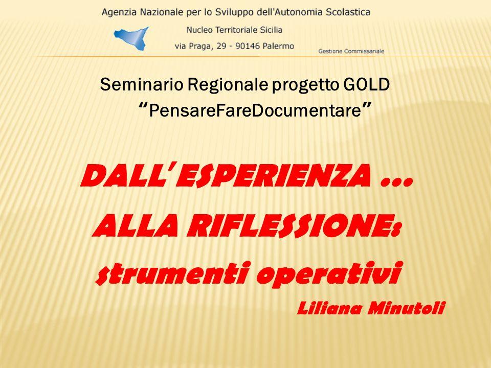 Seminario Regionale progetto GOLD PensareFareDocumentare DALLESPERIENZA … ALLA RIFLESSIONE: strumenti operativi Liliana Minutoli