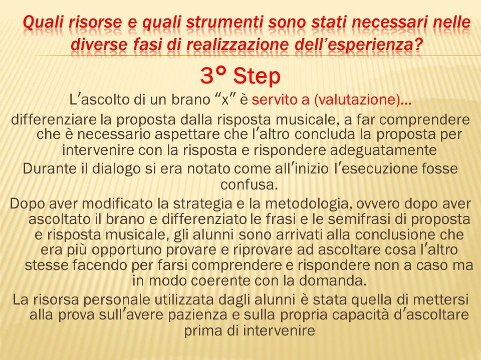 3° Step Lascolto di un brano x è servito a (valutazione)… differenziare la proposta dalla risposta musicale, a far comprendere che è necessario aspett