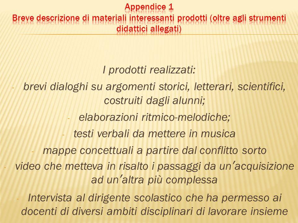 I prodotti realizzati: - brevi dialoghi su argomenti storici, letterari, scientifici, costruiti dagli alunni; - elaborazioni ritmico-melodiche; - test