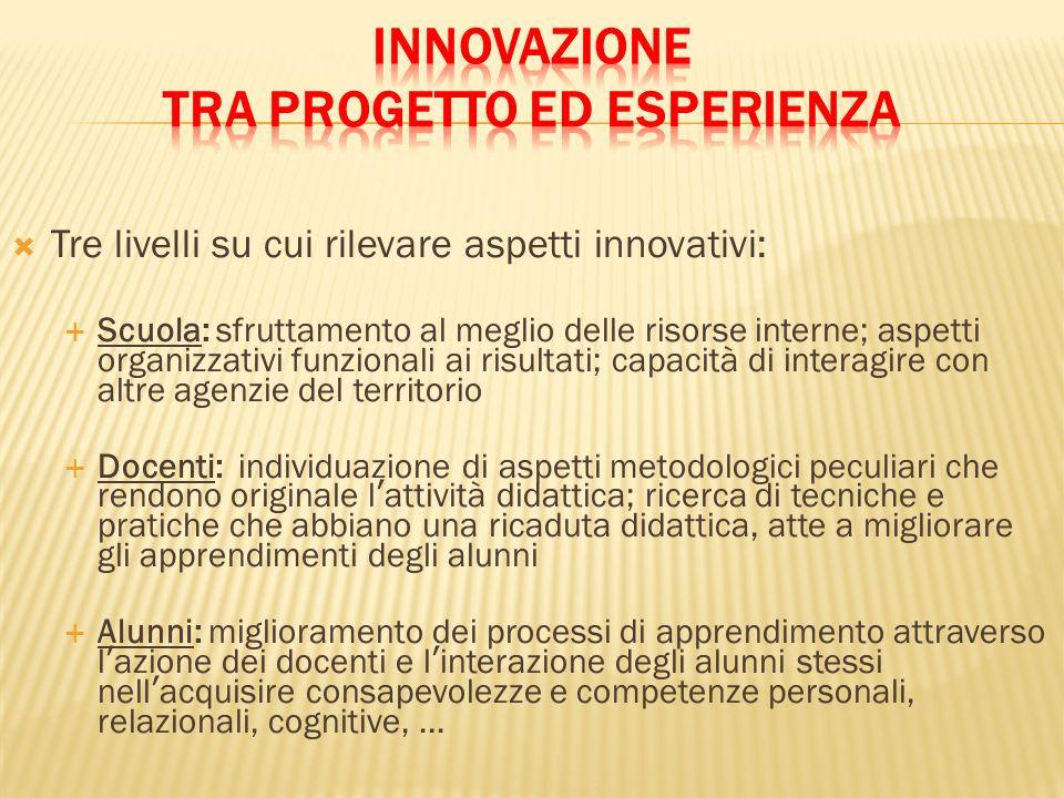 Tre livelli su cui rilevare aspetti innovativi: Scuola: sfruttamento al meglio delle risorse interne; aspetti organizzativi funzionali ai risultati; c