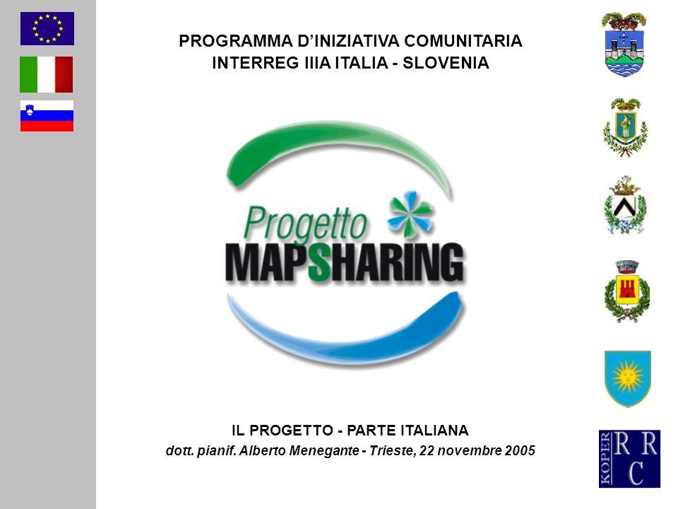 PROGRAMMA DINIZIATIVA COMUNITARIA INTERREG IIIA ITALIA - SLOVENIA IL PROGETTO - PARTE ITALIANA dott. pianif. Alberto Menegante - Trieste, 22 novembre