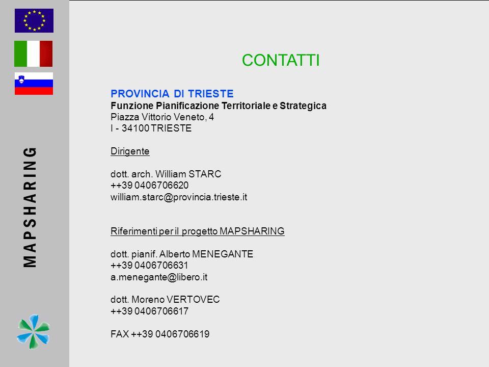 CONTATTI PROVINCIA DI TRIESTE Funzione Pianificazione Territoriale e Strategica Piazza Vittorio Veneto, 4 I - 34100 TRIESTE Dirigente dott. arch. Will
