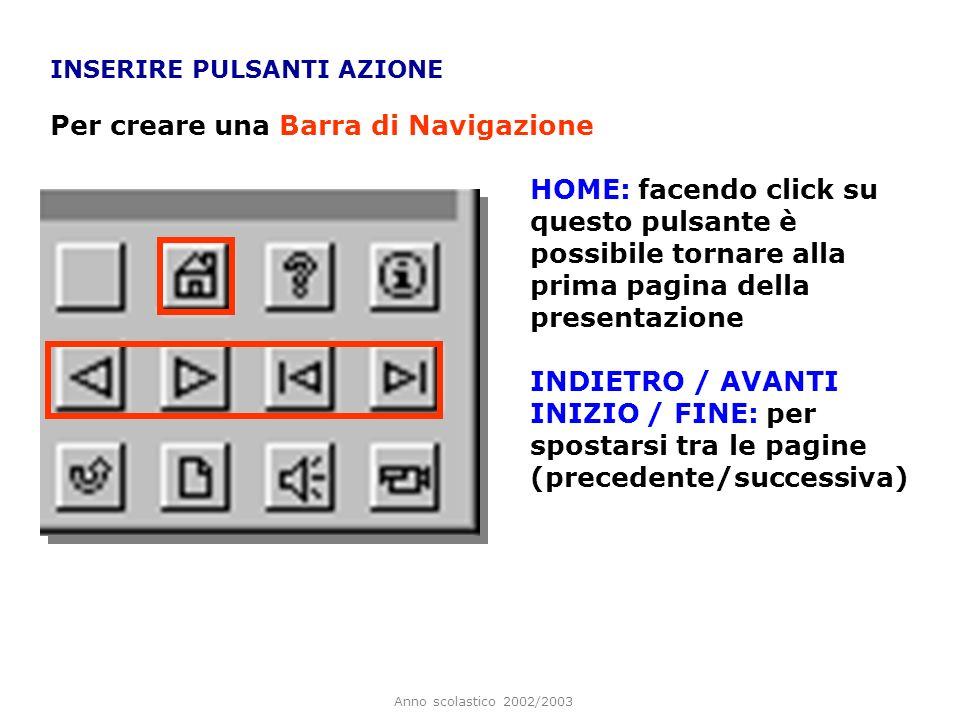 Anno scolastico 2002/2003 INSERIRE PULSANTI AZIONE Dal menu è possibile selezionare il pulsante azione preferito. È consigliabile inserire i pulsanti