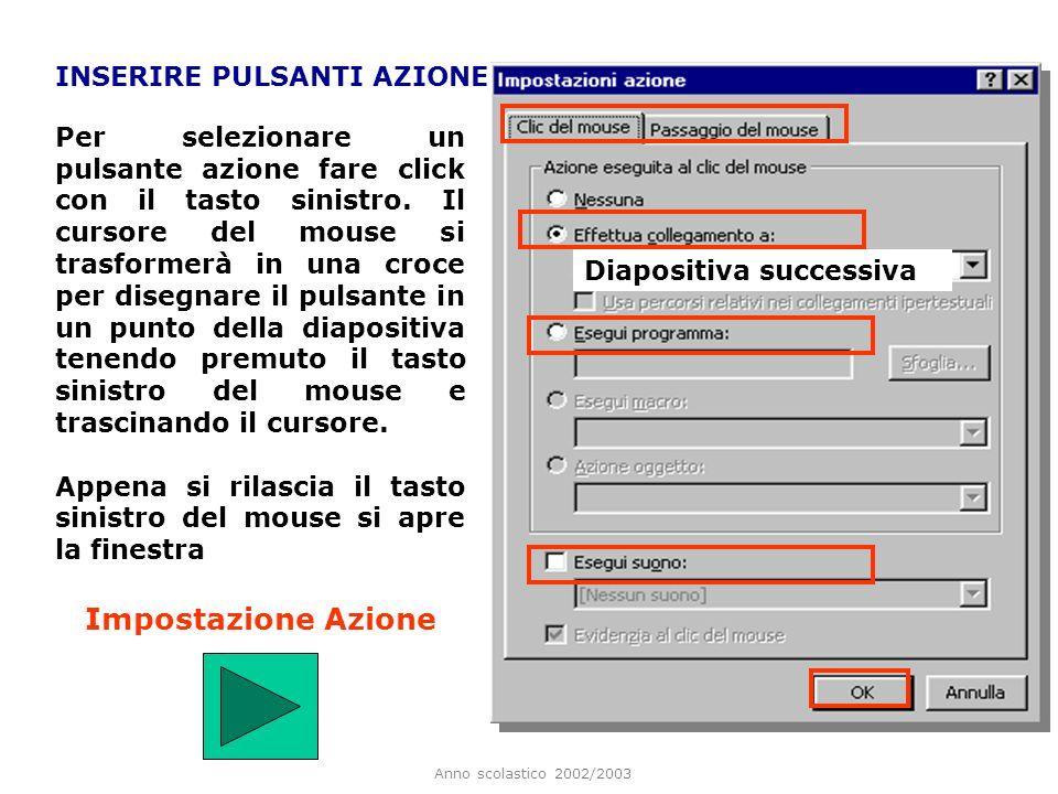 Anno scolastico 2002/2003 INSERIRE PULSANTI AZIONE Guida - Help Informazioni possono servire per portare lutente a pagine con indicazioni per la navig