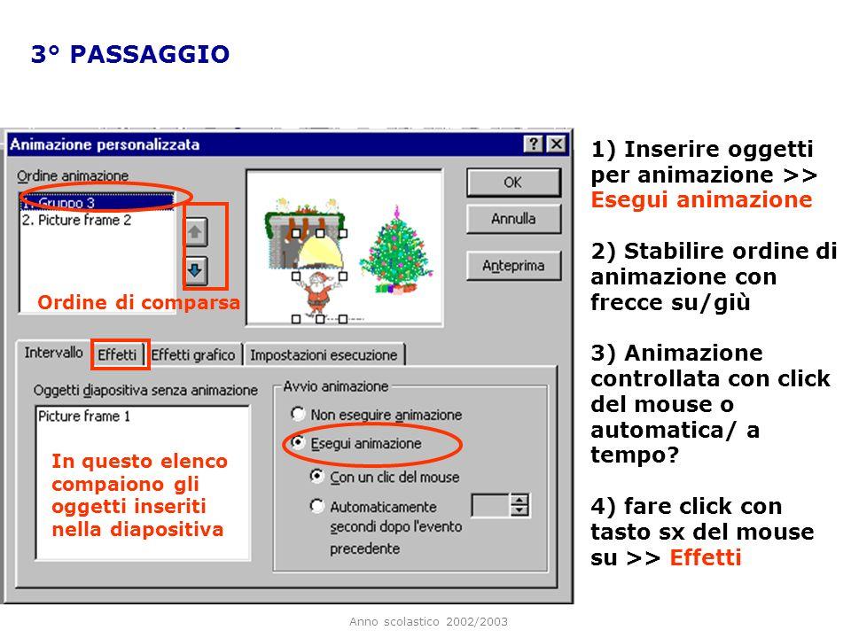 Anno scolastico 2002/2003 2° PASSAGGIO Per attribuire unanimazione ad ogni singolo oggetto, tenendo il cursore del mouse al centro delloggetto selezio
