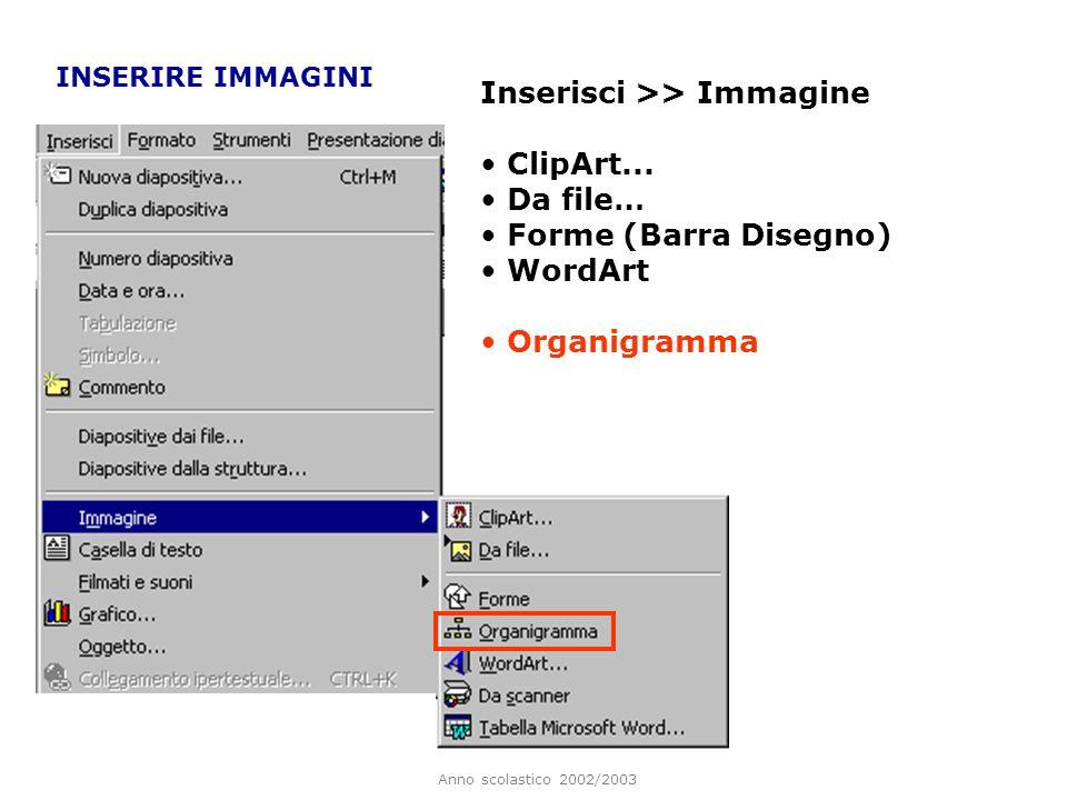 Anno scolastico 2002/2003 Inserire immagini OBIETTIVI Creare animazioni tra gli oggetti inseriti Inserire elementi visivi di navigazione rapida Inseri