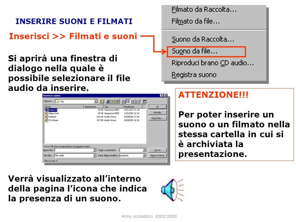 Anno scolastico 2002/2003 CREARE ANIMAZIONI Alle immagini, alle forme e alle WordArt inserite, possono essere attribuite anche delle semplici animazioni.