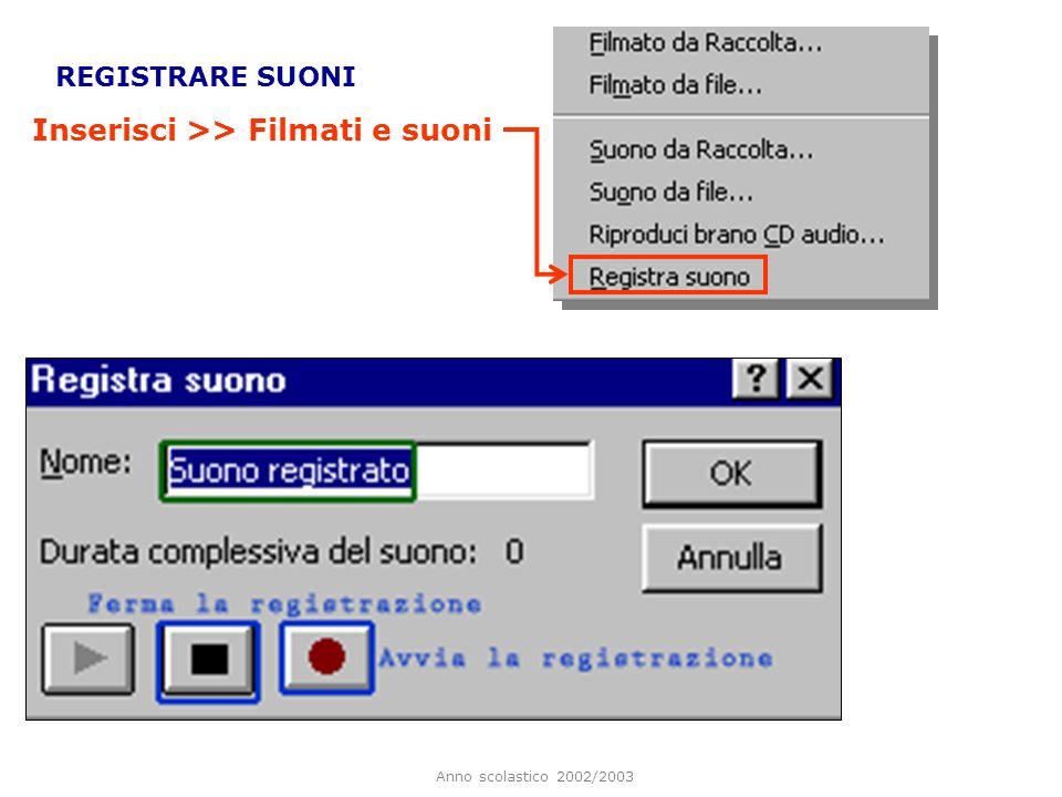 Anno scolastico 2002/2003 INSERIRE SUONI E FILMATI Inserisci >> Filmati e suoni Si aprirà una finestra di dialogo nella quale è possibile selezionare il file audio da inserire.