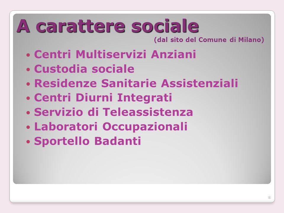 A carattere sociale A carattere sociale (dal sito del Comune di Milano) Centri Multiservizi Anziani Custodia sociale Residenze Sanitarie Assistenziali