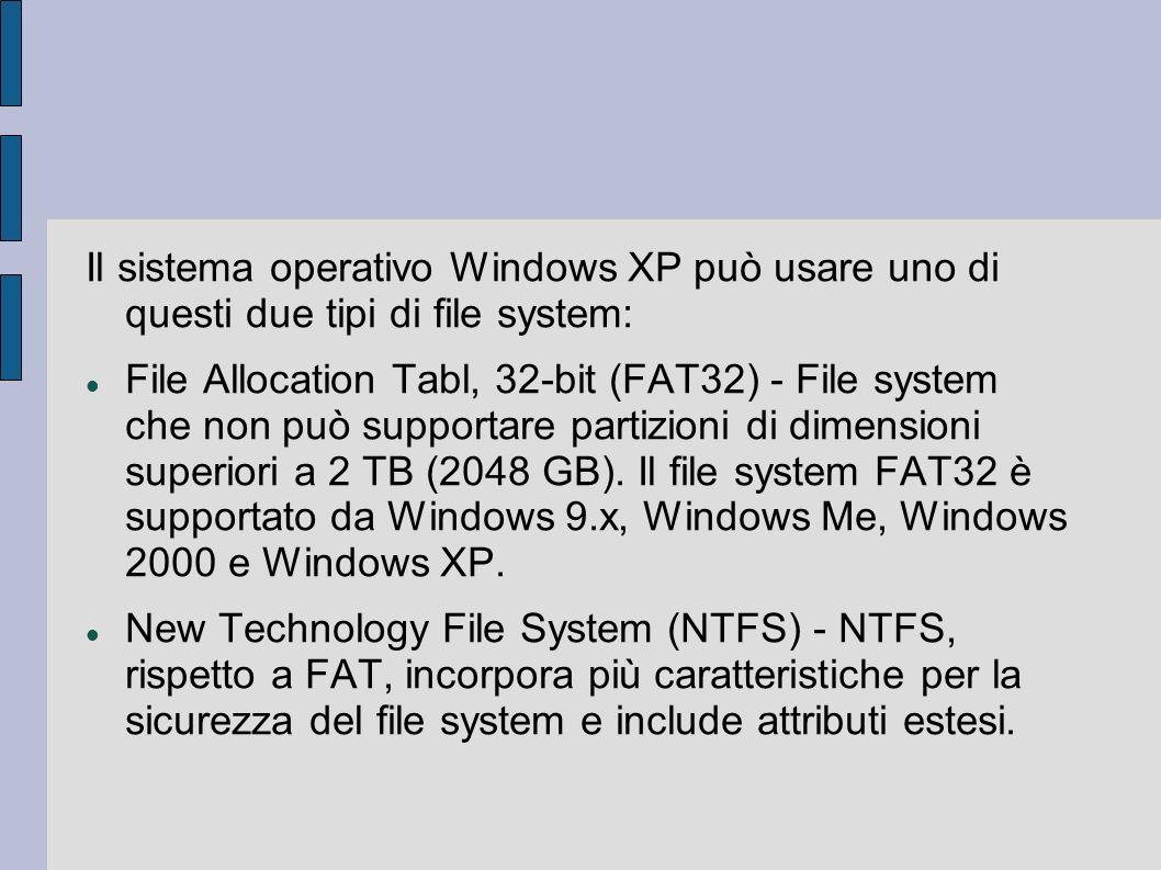 Il sistema operativo Windows XP può usare uno di questi due tipi di file system: File Allocation Tabl, 32-bit (FAT32) - File system che non può supportare partizioni di dimensioni superiori a 2 TB (2048 GB).