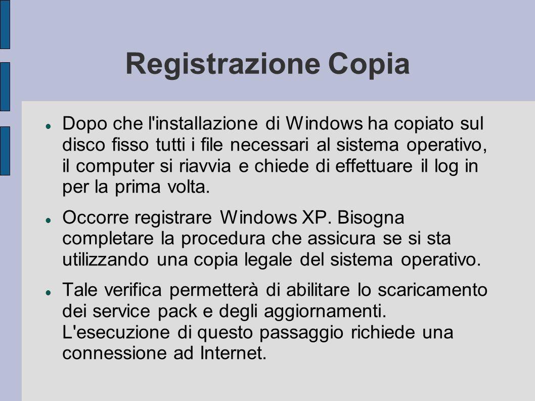 Registrazione Copia Dopo che l installazione di Windows ha copiato sul disco fisso tutti i file necessari al sistema operativo, il computer si riavvia e chiede di effettuare il log in per la prima volta.