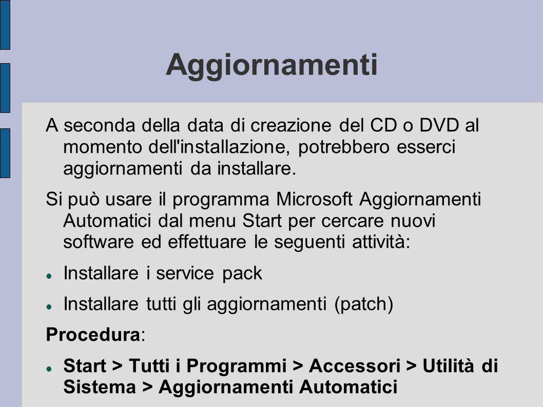 Aggiornamenti A seconda della data di creazione del CD o DVD al momento dell installazione, potrebbero esserci aggiornamenti da installare.