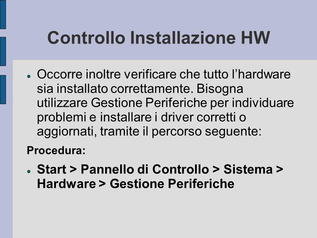 Controllo Installazione HW Occorre inoltre verificare che tutto lhardware sia installato correttamente.
