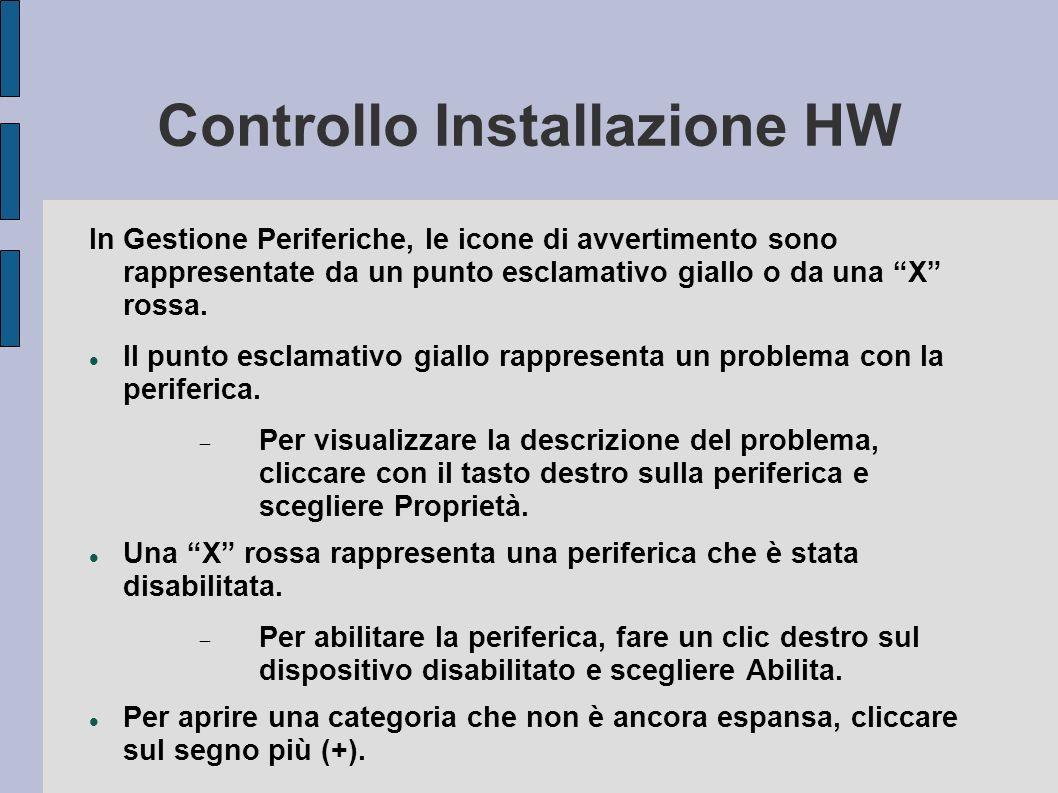 Controllo Installazione HW In Gestione Periferiche, le icone di avvertimento sono rappresentate da un punto esclamativo giallo o da una X rossa.