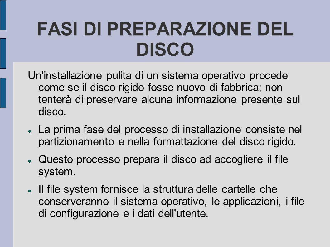 FASI DI PREPARAZIONE DEL DISCO Un installazione pulita di un sistema operativo procede come se il disco rigido fosse nuovo di fabbrica; non tenterà di preservare alcuna informazione presente sul disco.