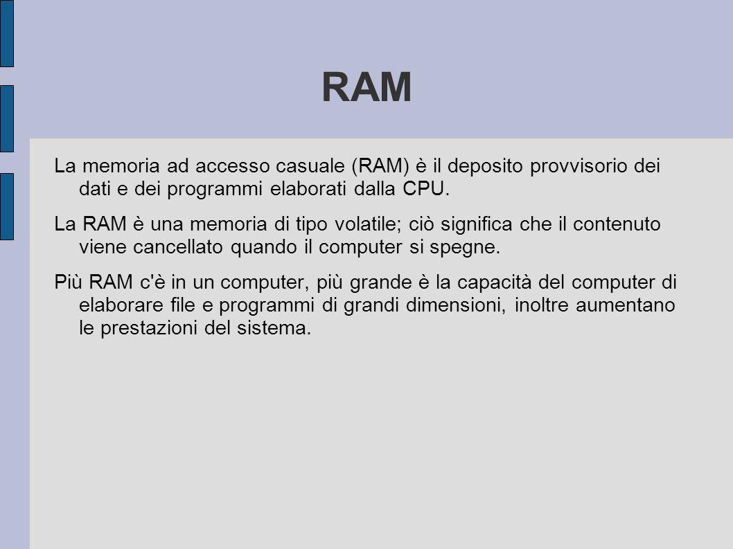 RAM La memoria ad accesso casuale (RAM) è il deposito provvisorio dei dati e dei programmi elaborati dalla CPU. La RAM è una memoria di tipo volatile;