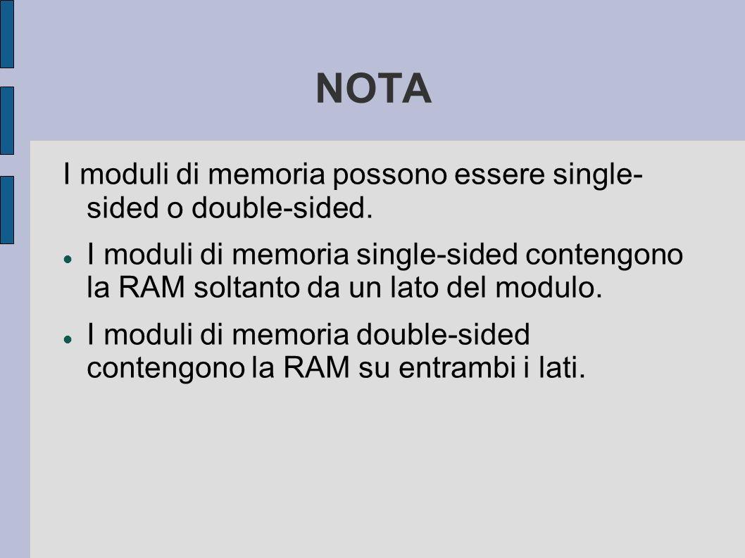 NOTA I moduli di memoria possono essere single- sided o double-sided. I moduli di memoria single-sided contengono la RAM soltanto da un lato del modul