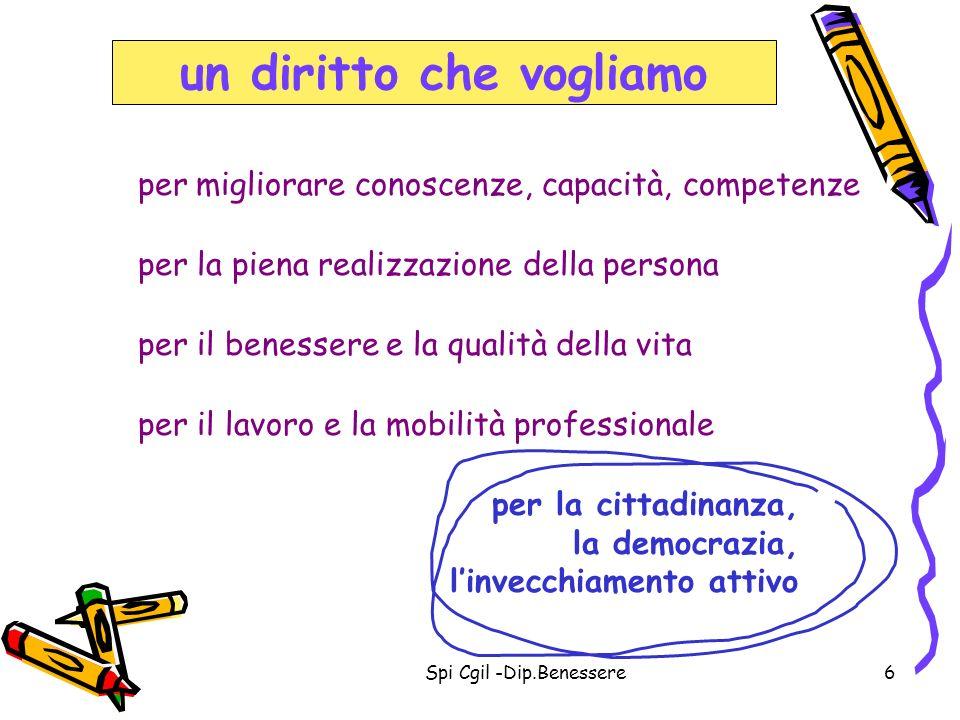 Spi Cgil -Dip.Benessere17 La partecipazione alle attività di apprendimento media della popolazione attiva coinvolta: – 6,2% in Italia – 9,7% in Europa obiettivo della Commissione Europea: - il 12,5% nel 2010