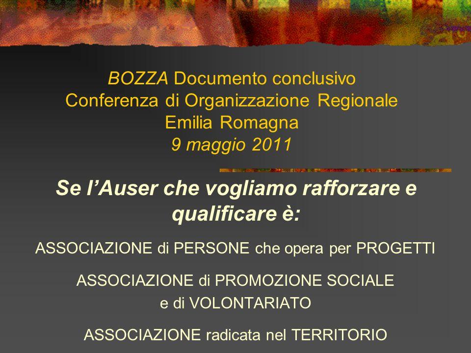 BOZZA Documento conclusivo Conferenza di Organizzazione Regionale Emilia Romagna 9 maggio 2011 Se lAuser che vogliamo rafforzare e qualificare è: ASSOCIAZIONE di PERSONE che opera per PROGETTI ASSOCIAZIONE di PROMOZIONE SOCIALE e di VOLONTARIATO ASSOCIAZIONE radicata nel TERRITORIO