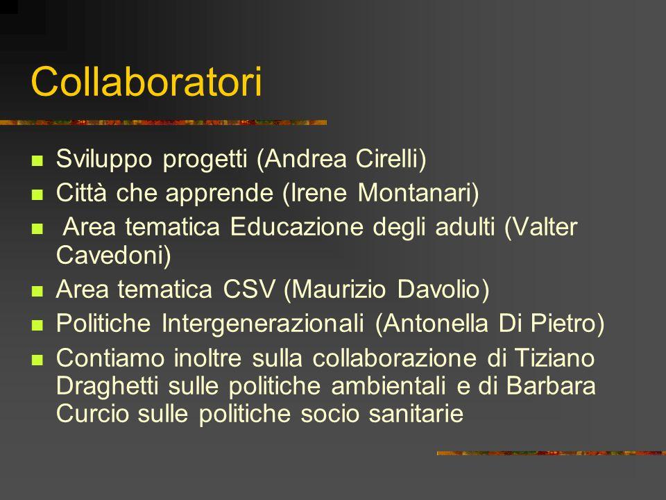 Collaboratori Sviluppo progetti (Andrea Cirelli) Città che apprende (Irene Montanari) Area tematica Educazione degli adulti (Valter Cavedoni) Area tem