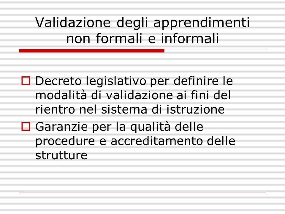 Validazione degli apprendimenti non formali e informali Decreto legislativo per definire le modalità di validazione ai fini del rientro nel sistema di istruzione Garanzie per la qualità delle procedure e accreditamento delle strutture