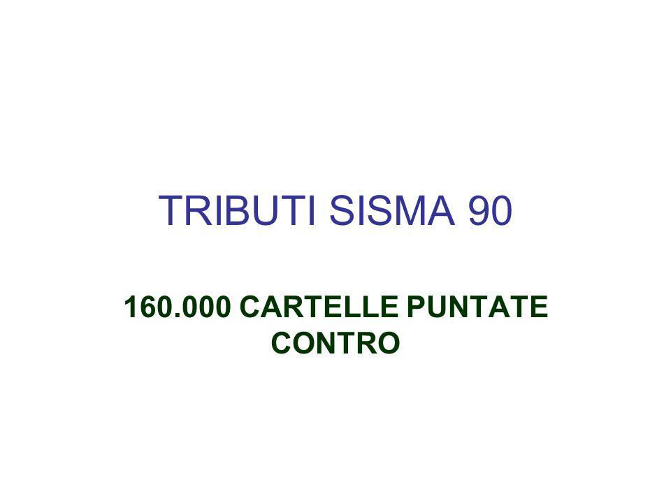 TRIBUTI SISMA 90 160.000 CARTELLE PUNTATE CONTRO