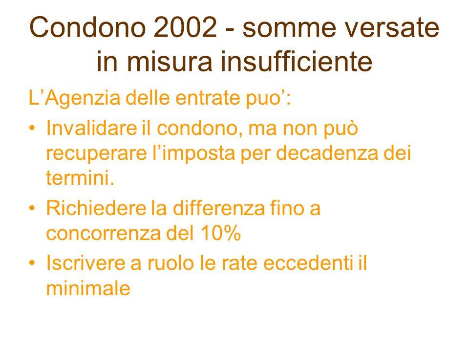 Condono 2002 - somme versate in misura insufficiente LAgenzia delle entrate puo: Invalidare il condono, ma non può recuperare limposta per decadenza d