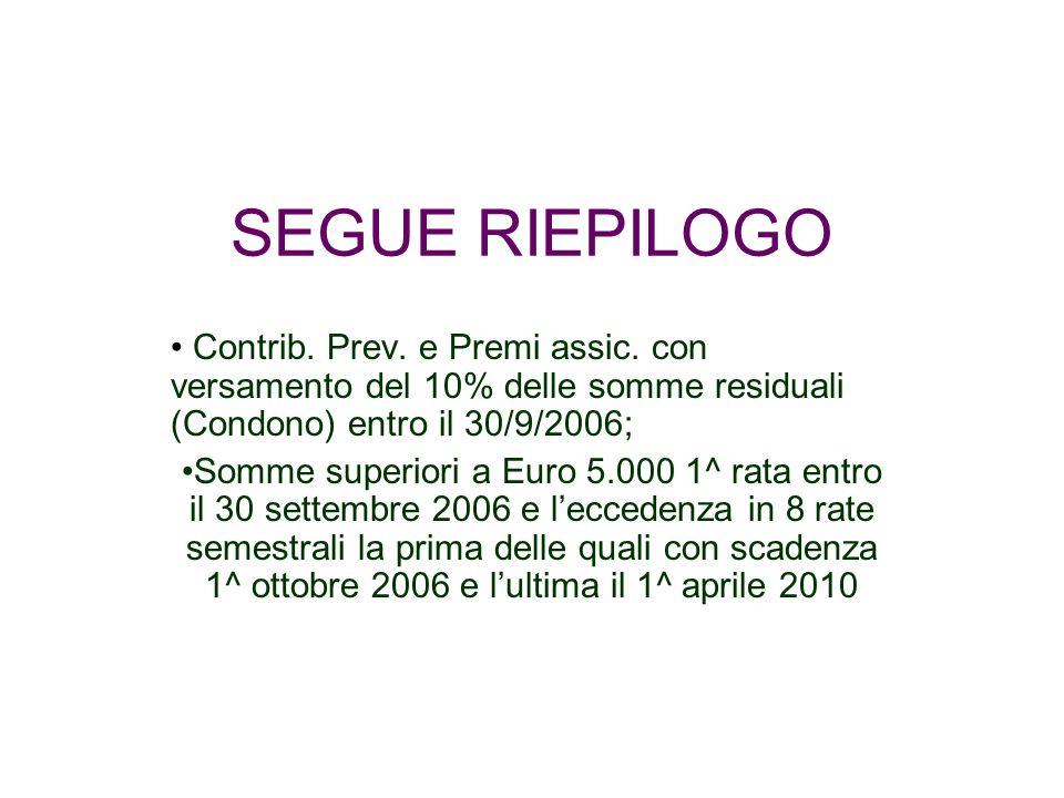 SEGUE RIEPILOGO Contrib. Prev. e Premi assic. con versamento del 10% delle somme residuali (Condono) entro il 30/9/2006; Somme superiori a Euro 5.000